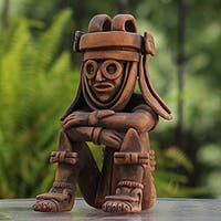 Rain God Tlaloc Musuem Replica Statue Hand Crafted Figurine Signed by Artist Global Decor Accent Art Work Statue (Mexico)