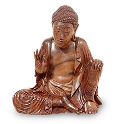 Suar Wood 'Buddha's Lesson' Sculpture (Indonesia)
