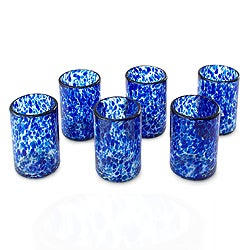 Set of 6 Blown Glass 'Marine' Tumblers (Mexico)