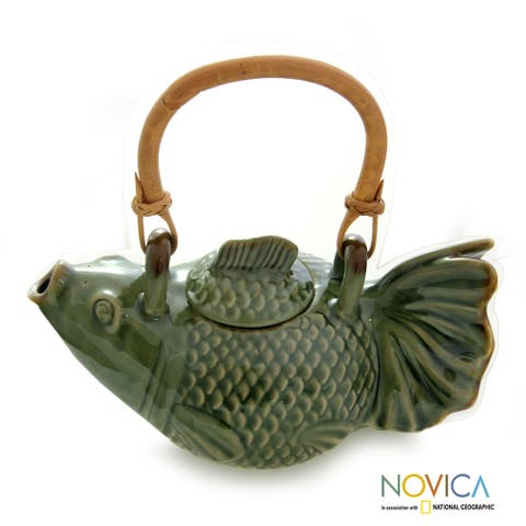 Handmade Ceramic 'Green Koi' Teapot (Indonesia)