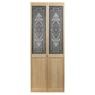 Eternity Unfinished Decorative Glass Bi-fold Door|https://ak1.ostkcdn.com/images/products/7744305/P15143379.jpg?impolicy=medium