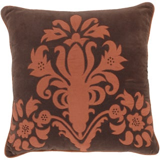 Harper Chocolate Floral 18-inch Decorative Down Pillow
