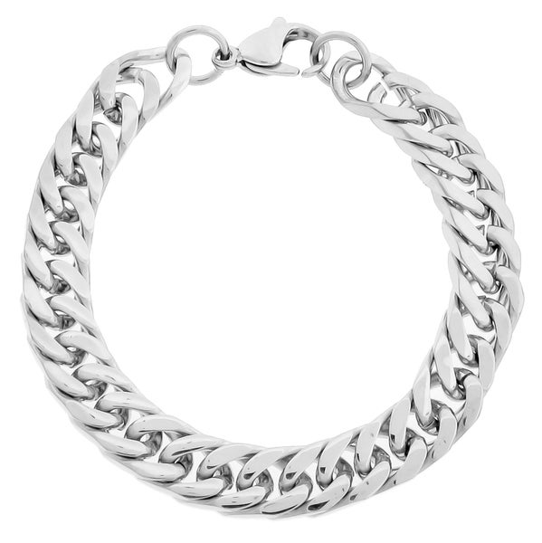 Stainless Steel Men's 10-mm Curb Link Bracelet