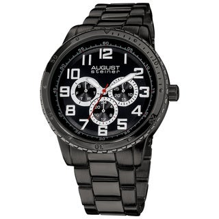 August Steiner Men's Quartz Multifunction Black Bracelet Watch
