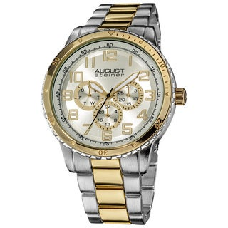 August Steiner Men's Quartz Multifunction Two-Tone Bracelet Watch