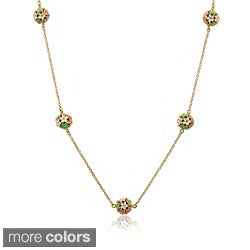 Little Miss Twin Stars 14k Goldplated Enamel Cluster of Flowers Necklace