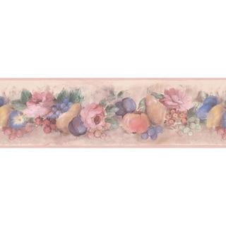 Brewster Peach Fruit Floral Wallpaper Border