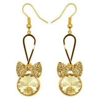 Kate Marie Goldtone Yellow Rhinestone Bow Design Earrings