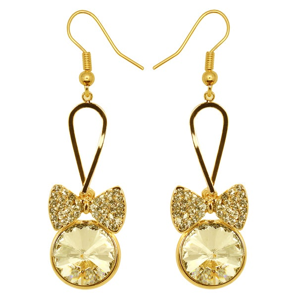 Kate Marie Goldtone Yellow Rhinestone Bow Design Earrings