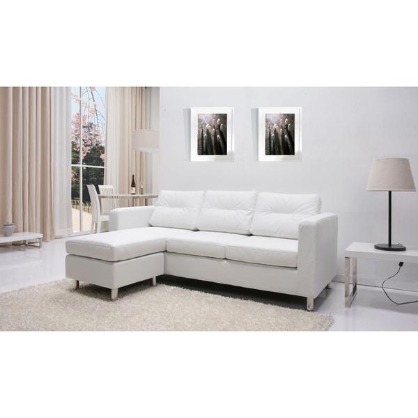 Detroit White Convertible Sectional Sofa And Ottoman Set