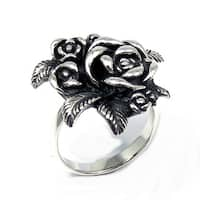 Handmade Gorgeous Rose Bouquet .925 Sterling Silver Floral Ring (Thailand)