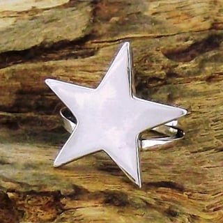 Big Shiny Solid Star .925 Sterling Silver Ring (Thailand)
