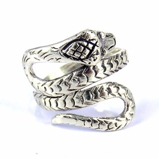 Handmade Cobra Snake Coil Wrap Around .925 Sterling Silver Ring (Thailand)
