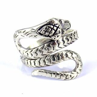 Handmade Cobra Snake Coil Wrap Around .925 Sterling Silver Ring (Thailand)