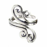 Handmade Charming Large Double Swirl Style .925 Sterling Silver Ring (Thailand)