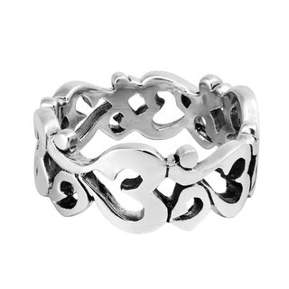 Handmade Aum or Om Prayer Sign Around Band .925 Sterling Silver Ring (Thailand)