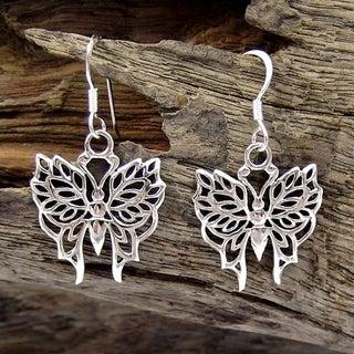 Handmade Pretty Wild Butterfly .925 Silver Dangle Earrings (Thailand)