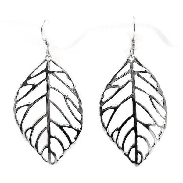 Handmade Pretty Outline Leaf Sterling Silver Dangle Earrings (Thailand)