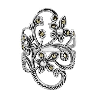 8b4ff4fdce46 Shop Handmade Beautiful Marcasite Flower Vine .925 Sterling Silver ...