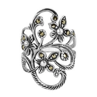 Handmade Beautiful Marcasite Flower Vine .925 Sterling Silver Ring (Thailand)|https://ak1.ostkcdn.com/images/products/7744629/P15143786.jpg?_ostk_perf_=percv&impolicy=medium