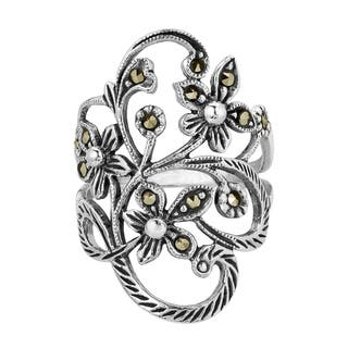 Handmade Beautiful Marcasite Flower Vine .925 Sterling Silver Ring (Thailand)|https://ak1.ostkcdn.com/images/products/7744629/P15143786.jpg?impolicy=medium