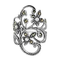Handmade Beautiful Marcasite Flower Vine .925 Sterling Silver Ring (Thailand)