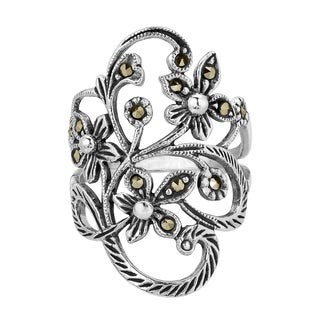 Handmade Beautiful Marcasite Flower Vine .925 Sterling Silver Ring (Thailand) (5 options available)