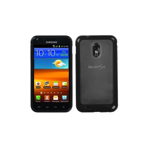 INSTEN Clear/ Black Gummy Phone Case Cover for Samsung Epic 4G Touch/ Galaxy S II