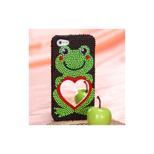 INSTEN Red Green Diamond Bling Rhinestone Hard Plastic Phone Case Cover for Apple iPhone 5