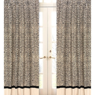 Sweet Jojo Designs Black and Beige 84-inch Window Treatment Curtain Panel Pair for Animal Safari Collection