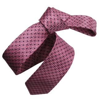 Dmitry Men's Pink Italian Silk Patterned Skinny Tie
