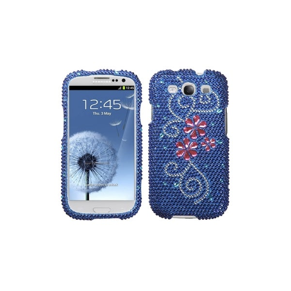 MYBAT Pink Flower Blue Bling Skin Cover Case for Samsung© Galaxy S3