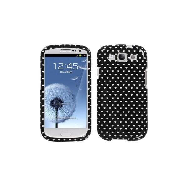 MYBAT Black White Heart Dots Hard Cover Case for Samsung© Galaxy S3