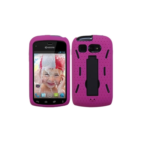 INSTEN Black/ Hot Pink Symbiosis Stand Phone Case Cover for KYOCERA C5170