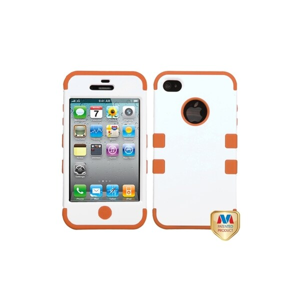 MYBAT White/ Orange TUFF Hybrid Phone Case Cover for Apple® iPhone 4