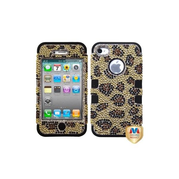 INSTEN Leopard Skin/ Diamond TUFF Hybrid Case Cover for Apple iPhone 4