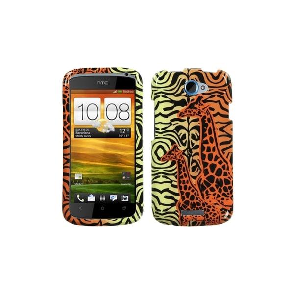 INSTEN Orange Giraffe Pair Phone Case Cover for HTC One S