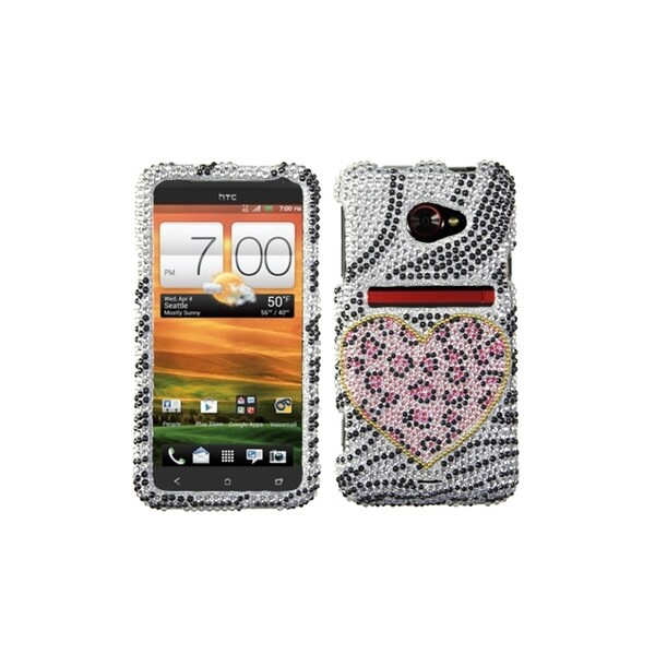 INSTEN Playful Leopard Diamante Phone Case Cover for HTC EVO 4G LTE
