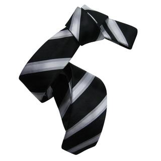 Dmitry Men's Black Italian Silk Patterned Skinny Tie