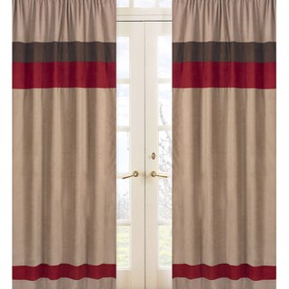 Sweet Jojo Designs Chocolate Brown, Cocoa and Brick Red All Star Sports Collection 84-inch Window Treatment Curtain Panel Pair