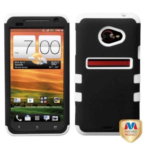 MYBAT Black/ White TUFF Hybrid Phone Case Cover for HTC EVO 4G LTE