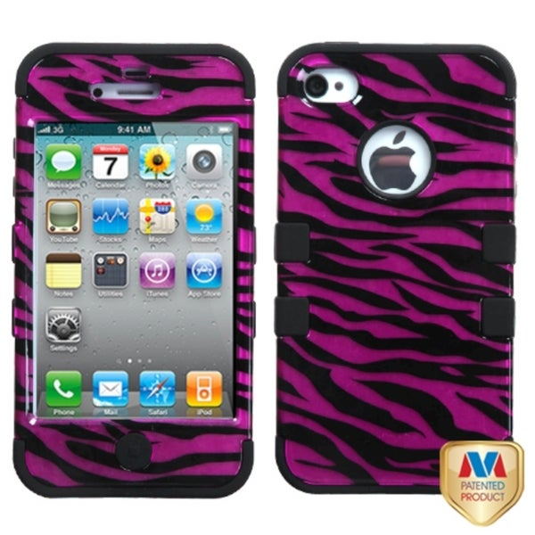 INSTEN Zebra Pink/ Black 2D Silver TUFF Hybrid Phone Case Cover for Apple iPhone 4
