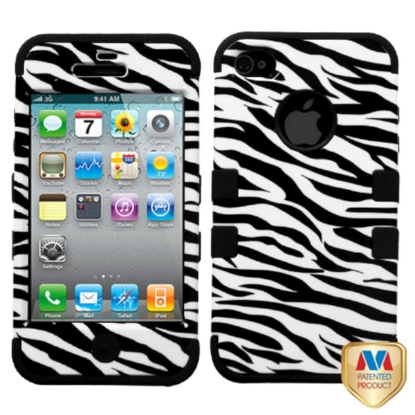 INSTEN Zebra Skin/ Black TUFF Hybrid Case Cover for Apple iPhone 4/ 4S
