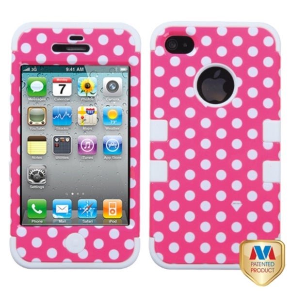 INSTEN Dots/ White TUFF Hybrid Phone Case Cover for Apple iPhone 4/ 4S
