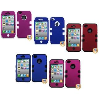 INSTEN Titanium Pink/ Black TUFF Phone Case Cover for Apple iPhone 4/ 4S