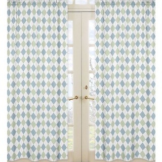 Sweet Jojo Designs Green, Soft Blue and White 84-inch Window Treatment Curtain Panel Pair for Blue and Green Argyle Collection