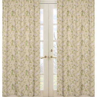 Sweet Jojo Designs Peach, Sage Green, Beige and Cream 84-inch Window Treatment Curtain Panel Pair for Annabel Collection