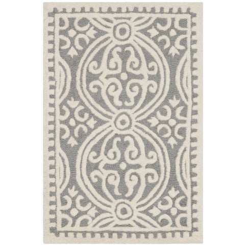 Safavieh Handmade Cambridge Moroccan Silver/ Ivory Rug - 2' x 3'