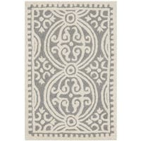"Safavieh Handmade Cambridge Moroccan Silver/ Ivory Rug (2'6"" x 4') - 2'6 x 4'"
