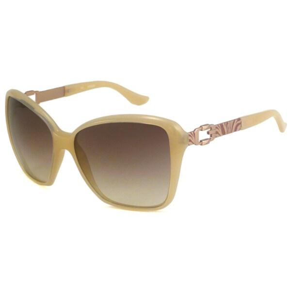 Guess Women's GU7039 Beige/Brown Rectangular Sunglasses